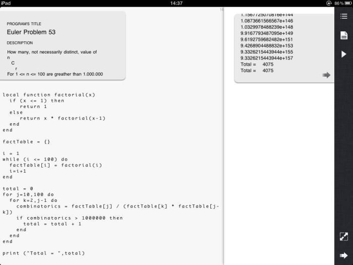Euler53 solved using Lua