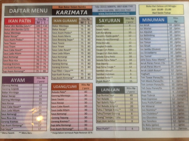 Price List Karimata
