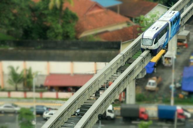 A monorail in Kuala Lumpur, Malaysia