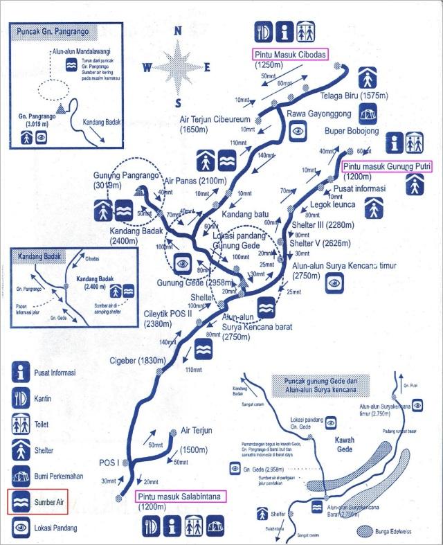 Peta Gede Pangrango