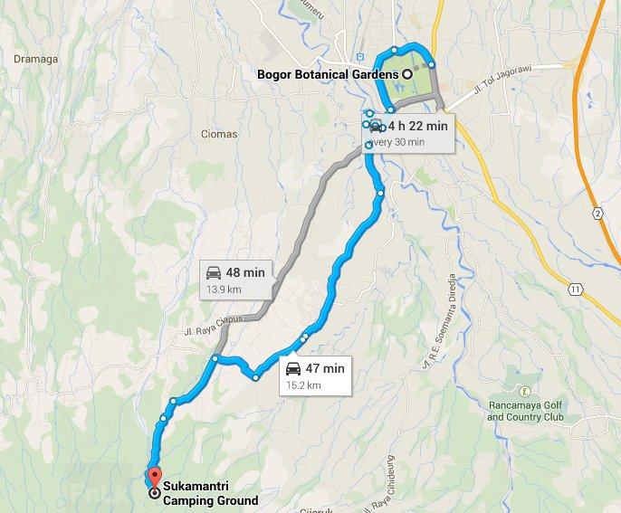Jarak dari Kebun Raya ke Sukamantri